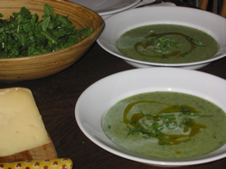 Arugula and leek soup.