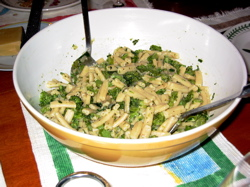 Penne with broccoli.