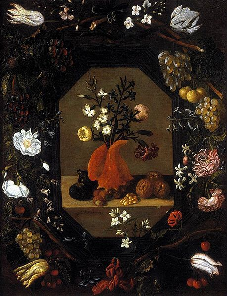 459px-Espinosa,_1645,_A_bouquet_of_flowers_in_a_conch_shell,_with_nuts_and_figs,_surrounded_by_a_wreath_of_flowers_and_fruit