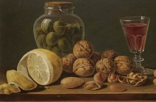 Still-Life-With-Walnuts,-Olives-In-A-Glass-Jar,-A-Partly-Peeled-Lemon-And-A-Glass-Of-Red-Wine