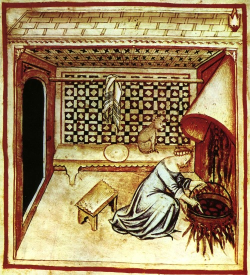 Medieval-Woman-cooking-with-cat-nearby