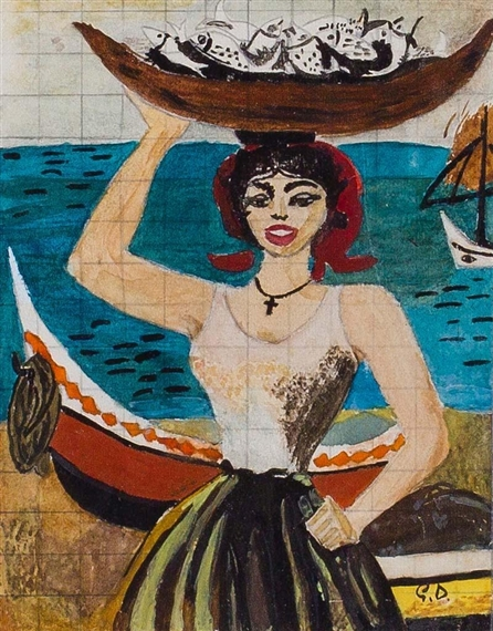 Italian woman with fish