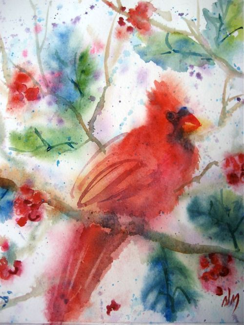 watercolour painting bird cardinal watercolor MacPhail