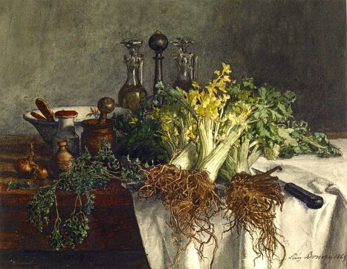 773px-Léon_Bonvin_-_Still_Life_on_Kitchen_Table_with_Celery,_Parsley,_Bowl,_and_Cruets_-_Walters_371504