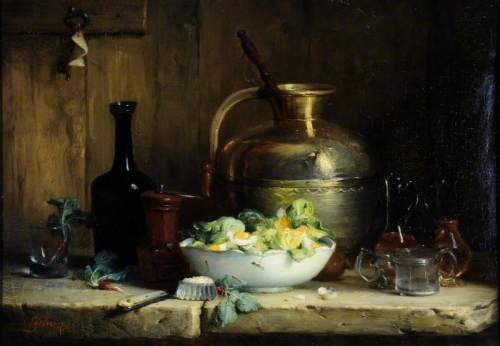 Lefebvre, Ernest Eugene, 1850-1889; Still Life with a Pitcher, Glasses and a Bowl of Salad